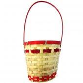 Saplı Kırmızı Kurdeleli Hasır Sepet - 19x12x17 cm