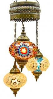 Ateş 3' Lü Otantik Tavan Sarkıt Avize Mozaik Lamba Gece Lambası Dekor Lamba