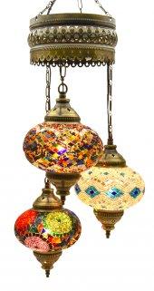 Karışık 1 3'lü Otantik Tavan Sarkıt Avize Mozaik Lamba Gece Lambası Dekor Lamba