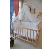 Bebekonfor Beyaz Fransız Dantelli Doğal Ahsap Bebek Karyolası-4