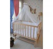 Bebekonfor Beyaz Fransız Dantelli Doğal Ahsap Bebek Karyolası-5
