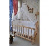 Bebekonfor Beyaz Fransız Dantelli Doğal Ahsap Bebek Karyolası-6