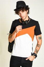 Geometrik Desenli Bisiklet Yaka Erkek T Shirt