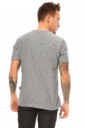 Kendinden Desenli Gri Erkek T-shirt-4