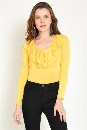 Yakası Volanlı Çıtçıtlı Sarı Bluz