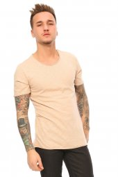 Kendinden Desenli Basic Bej Erkek T Shirt