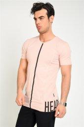 Eteği Baskılı Erkek Pudra T Shirt