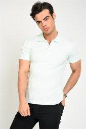 Mrk Logolu Düz Basic Mint Yeşili Polo Yaka T Shirt