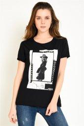 önü Baskılı Siyah Kadın T Shirt