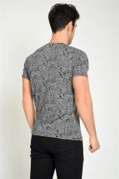 Kendinden Şal Desenli Siyah Erkek T-shirt-3