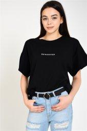 Baskılı Salaş Basic Siyah T Shirt