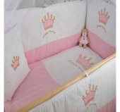 Bebekonfor Pembe Taçlı Uyku Seti ile Doğal Karyola Bebek Beşiği-2