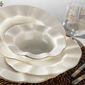 Kütahya Porselen Milena Yaldızlı 24 Parça Krem Yemek Takım
