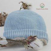 Organik Bebek Şapkası Mavi Or4ganic Bonny Baby Şapka