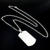 925 Gümüş Düz Boş Asker Künyesi Gümüş Erkek...