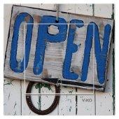Dekoratif Baskılı Elektrik Düğmesi-Priz-Kapı Zili Open Yazısı