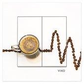 Dekoratif Baskılı Elektrik Düğmesi Priz Kapı Zili Kahve Nabız