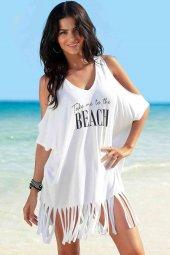 Beyaz Beach Baskılı Pareo
