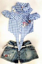 Kız Çocuk Yazlık Takım Gömlek Şort-3