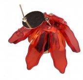 Frilly Çiçek Küpe Kırmızı (FKKP998)-2