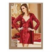 Nurteks İpek Saten Dantelli Kimono Set 5332