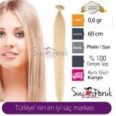 Boyasız Doğal Saç Gerçek Saç Platin Renk 0.6 Gr