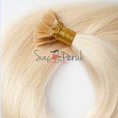 Boncuk Kaynak Saç 0,8 gr Platin Sarı Gerçek Saç-5