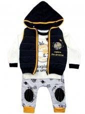 Pearly Baby Kabartma Yelekli Şalvar Model Üçlü...