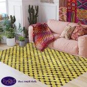 RugRita Sarı Geometrik Nokta desenli Kaydırmaz Taban halı