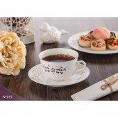 Neva N1015 Daısy Dantel 12 Parça Porselen Beyaz Kahve Takımı