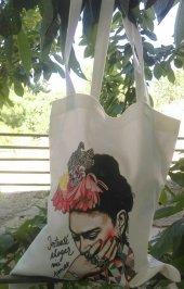 Frida Temalı Bez Çanta Tote Bag - Fermuarlı iç cep-2