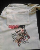 Frida Temalı Bez Çanta Tote Bag - Fermuarlı iç cep-3