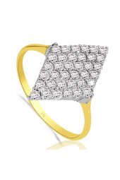 Cigold 14 Ayar Taşlı Yüzük Yz000456