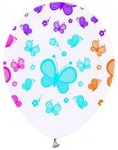 Kelebek Karışık Renkli Baskılı Balon 10 Adet