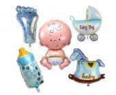 Mavi Bebek Temalı Folyo Balon Seti 5 Parça