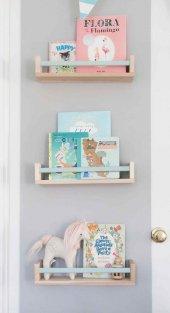 Ceebebek Ahşap Duvar Raf Bebek Çocuk Odası Mavi Çubuklu Montessori Kitaplık 3MCUB40 Ücretsiz Kargo