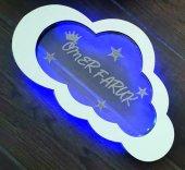 Dekoratif Aynalı Pleksi Çocuk Odası Kapısüsü (Lazer Kesim & Kazıma) Led Işıklı Bulut Model