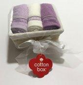Cotton Box 3 Lü Sepet Havlu Ekru Lila Mor
