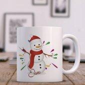 Kişiye Özel Kardan Adam Tasarımlı Beyaz Kupa Bardak - 4