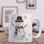 Kişiye Özel Kardan Adam Tasarımlı Beyaz Kupa Bardak - 3