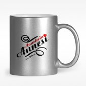 Kişiye Özel Annelerin Annesi Tasarımlı Gümüş Yaldızlı Kupa Bardak - 1