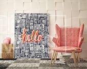 Hello - Tipografi Kanvas Tablo-2