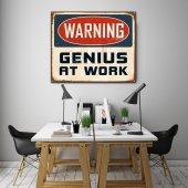 Warning Genius At Work - Tipografi Kanvas Tablo-2