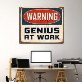 Warning Genius At Work - Tipografi Kanvas Tablo-3