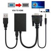 Vga To Hdmi Kablo Dönüştürücü Görüntü Ve Ses...