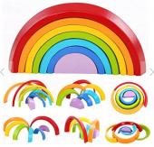 Piramigo Gökkuşağı Renkli Ahşap Blokları Montessori Eğitim Seti