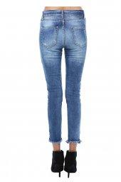 Mavi Yıkama Taşlanmış, Cep ve Paça Detaylı Denim Pantolon-3