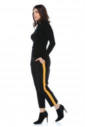 Sarı Şeritli Siyah Bilek Pantolon