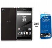 Sony Xperia Z5 Silikon Kılıf Siyah + Cam Ekran Koruyucu
