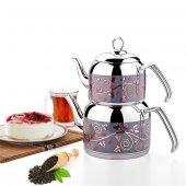 308 Menekşe Orta Desenli Çaydanlık Çelik Saplı